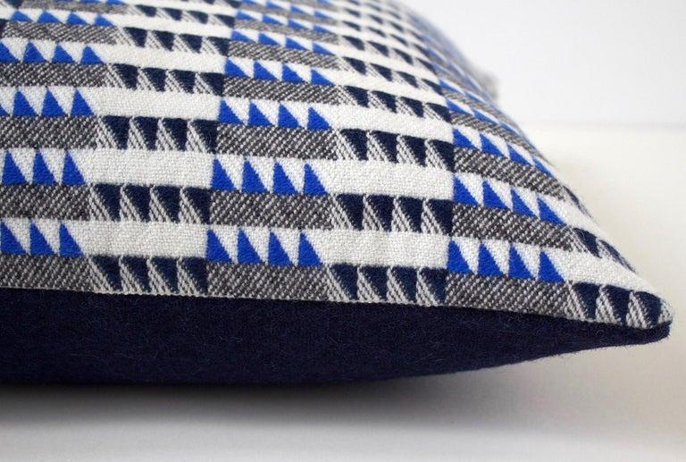Mid-Century Modern Handwoven 'Ixelles' Geometric Merino Wool Cushion Pillow, Indigo/Colbalt Blue For Sale