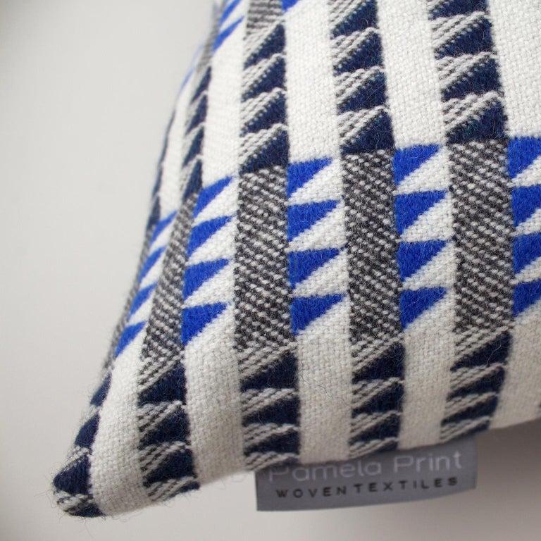 British Handwoven 'Ixelles' Geometric Merino Wool Cushion Pillow, Indigo/Colbalt Blue For Sale