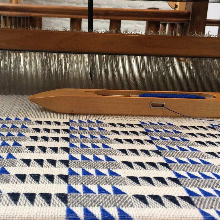 Hand-Woven Handwoven 'Ixelles' Geometric Merino Wool Cushion Pillow, Indigo/Colbalt Blue For Sale