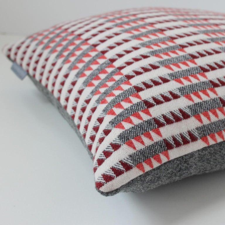 Mid-Century Modern Handwoven 'Ixelles' Geometric Merino Wool Cushion Pillow, Papaya/Burgundy/Grey For Sale