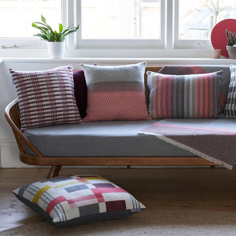 British Handwoven 'Ixelles' Geometric Merino Wool Cushion Pillow, Papaya/Burgundy/Grey For Sale