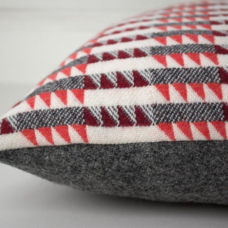 Hand-Woven Handwoven 'Ixelles' Geometric Merino Wool Cushion Pillow, Papaya/Burgundy/Grey For Sale