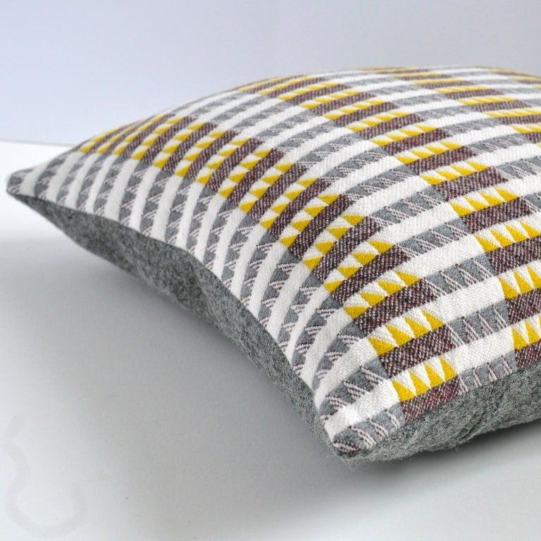 Mid-Century Modern Handwoven 'Ixelles' Geometric Merino Wool Cushion Pillow, Piccalilli /Greys For Sale