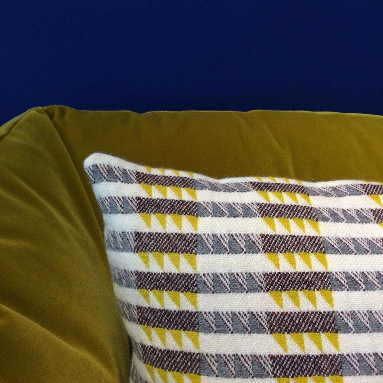 British Handwoven 'Ixelles' Geometric Merino Wool Cushion Pillow, Piccalilli /Greys For Sale