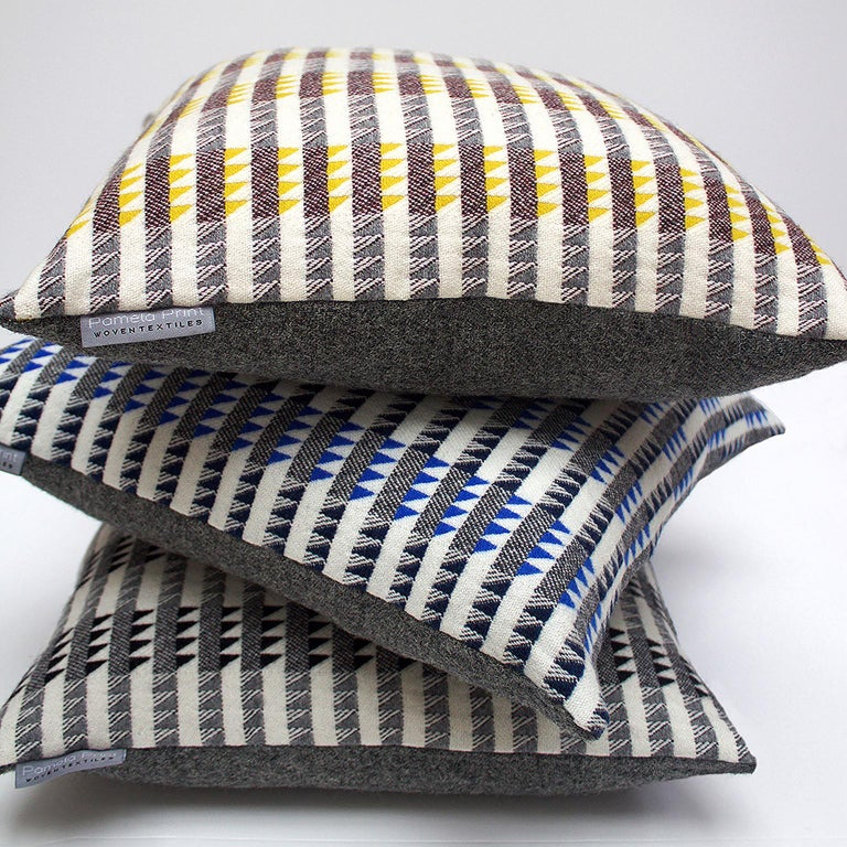 Hand-Woven Handwoven 'Ixelles' Geometric Merino Wool Cushion Pillow, Piccalilli /Greys For Sale