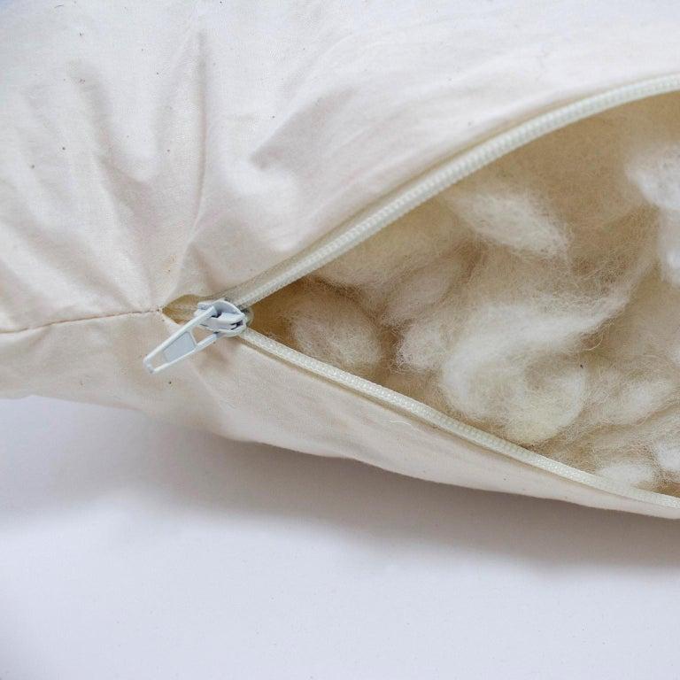 Handwoven 'Ixelles' Geometric Merino Wool Cushion Pillow, Piccalilli /Greys For Sale 2