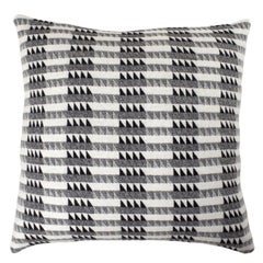 Handwoven 'Ixelles' Geometric Merino Wool Cushion Pillow, Graphite Grey