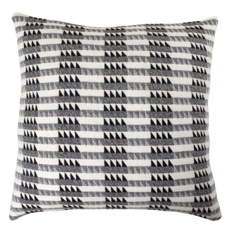 Handwoven 'Ixelles' Geometric Merino Wool Cushion Pillow, Graphite Grey For Sale