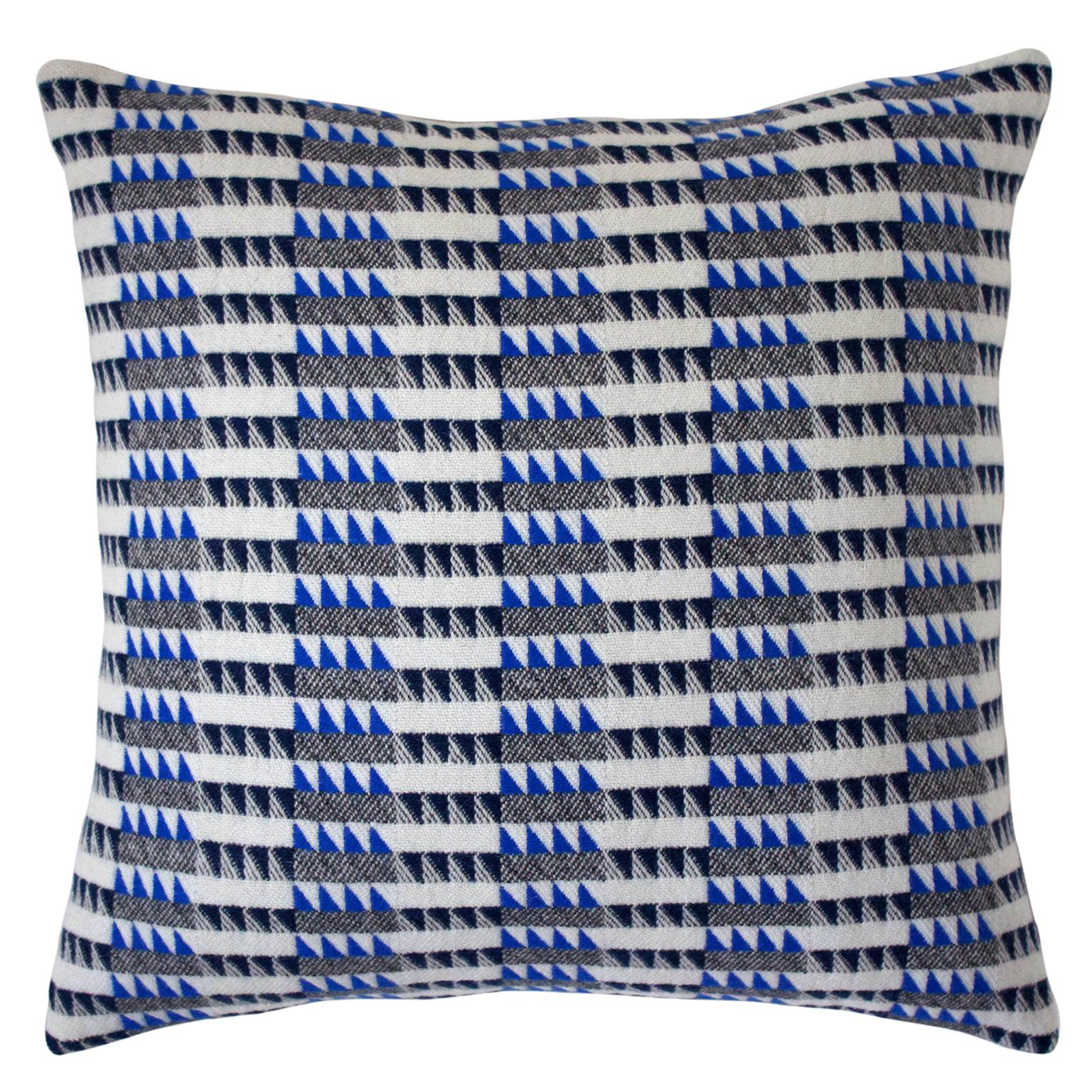 Handwoven 'Ixelles' Geometric Merino Wool Cushion Pillow, Indigo/Colbalt Blue