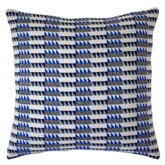 Handwoven 'Ixelles' Geometric Merino Wool Cushion Pillow, Indigo/Colbalt Blue