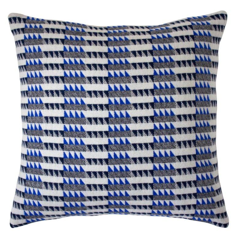 Handwoven 'Ixelles' Geometric Merino Wool Cushion Pillow, Indigo/Colbalt Blue For Sale