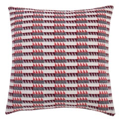 Handwoven 'Ixelles' Geometric Merino Wool Cushion Pillow, Papaya/Burgundy/Grey