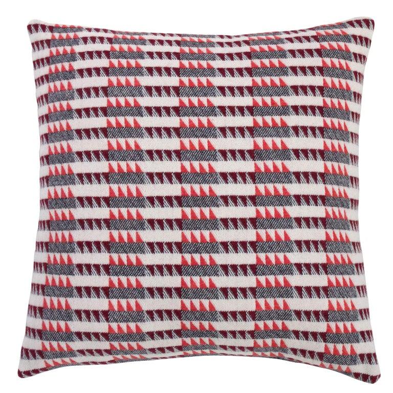 Handwoven 'Ixelles' Geometric Merino Wool Cushion Pillow, Papaya/Burgundy/Grey For Sale