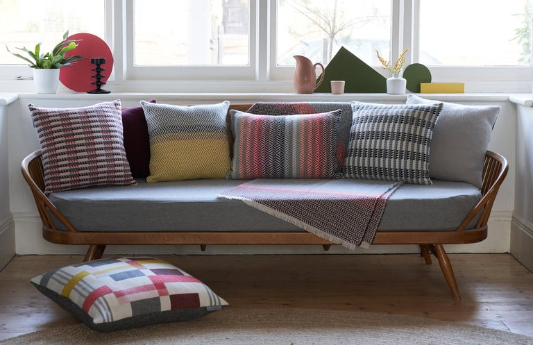 Contemporary Handwoven 'Ixelles' Geometric Merino Wool Cushion Pillow, Piccalilli /Greys For Sale