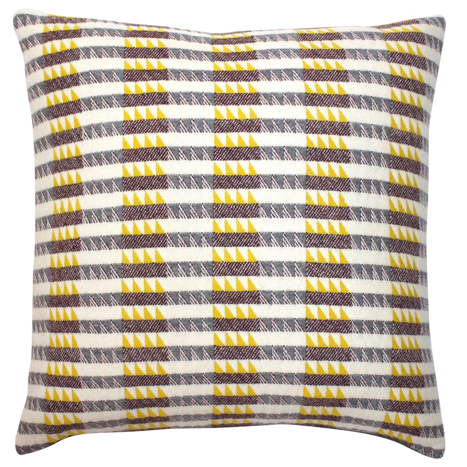Handwoven 'Ixelles' Geometric Merino Wool Cushion Pillow, Piccalilli /Greys
