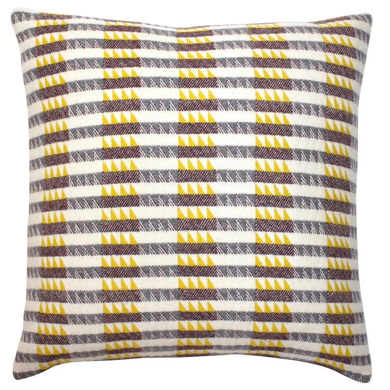 Handwoven 'Ixelles' Geometric Merino Wool Cushion Pillow, Piccalilli /Greys For Sale