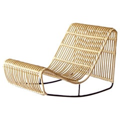 Handwoven Jambi Deck Chair, Powder-Coated Steel and Natural Rattan, Mexico City