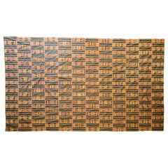 Handwoven Kente Textile, Ewe of Ghana, W. Africa, Cotton & Silk Mid-20th Century