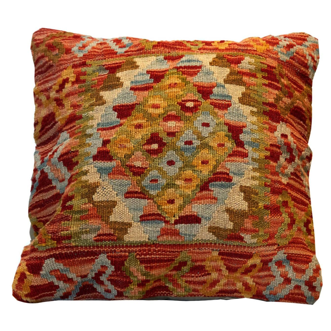 Handwoven Kilim Cushion Cover Orange Red Wool Scatter Pillow Case