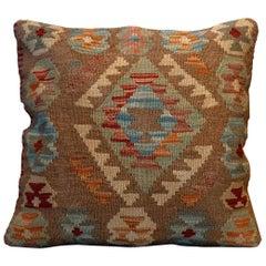 Handwoven Kilim Rug Decorative Pillow, Blue Cushion Cover Aztec Design for Sale