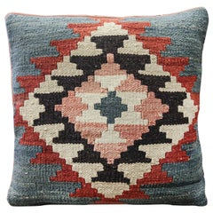 Handwoven Kilim Rug Decorative Pillow, Blue Cushion Cover Aztec Design
