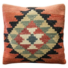 Handwoven Kilim Rug Decorative Pillow, Pink Cushion Cover Aztec
