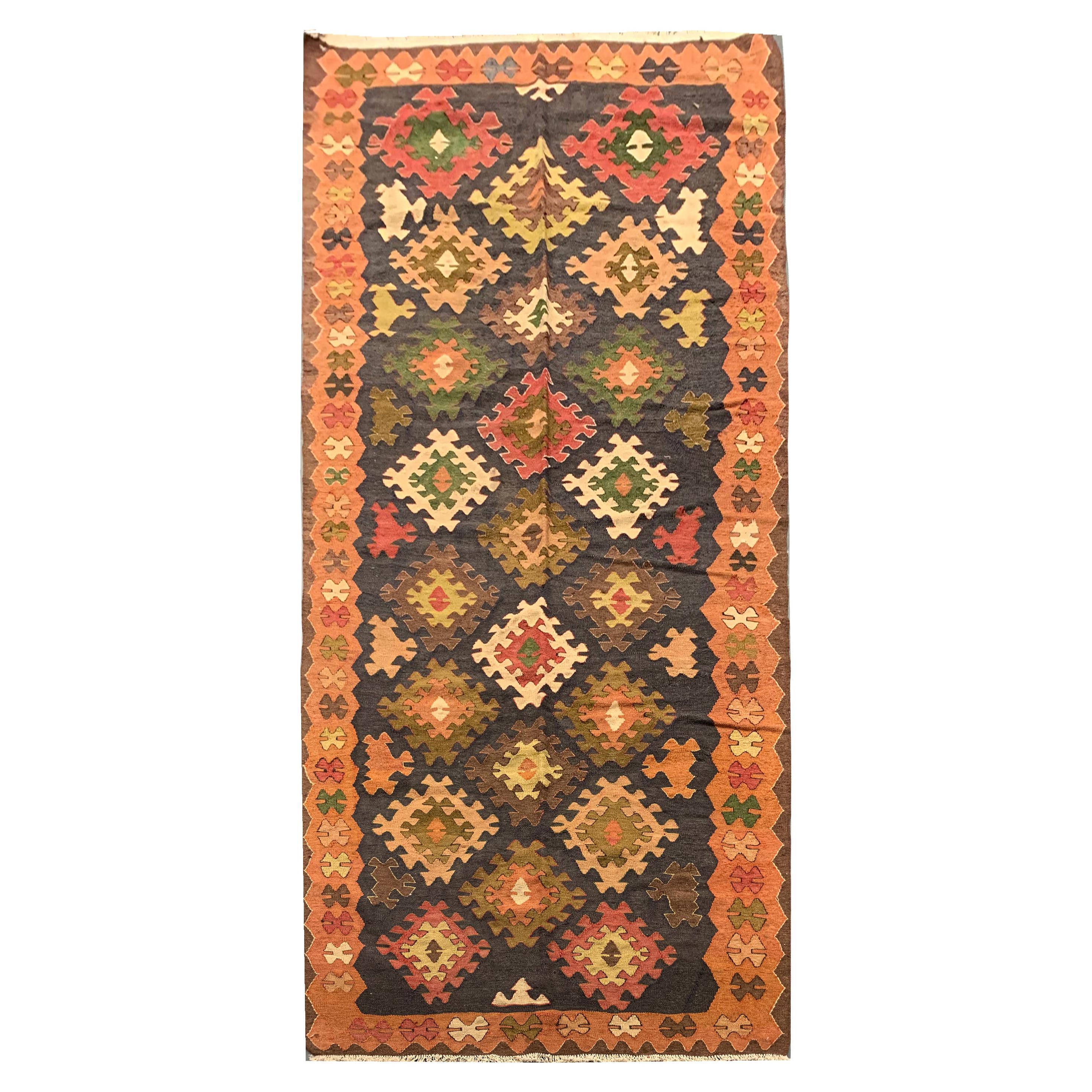 Handwoven Kilims Antique Caucasian Kilim Rug Geometric Wool Carpet