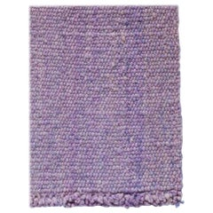 Handwoven Lilac Wool Rug, Organic Modern Textured Style, in Stock