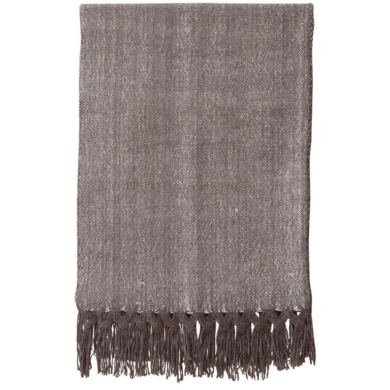 Handwoven Llama Wool & Silk Double Fringe Throw Pillow from Patagonia, in Stock For Sale