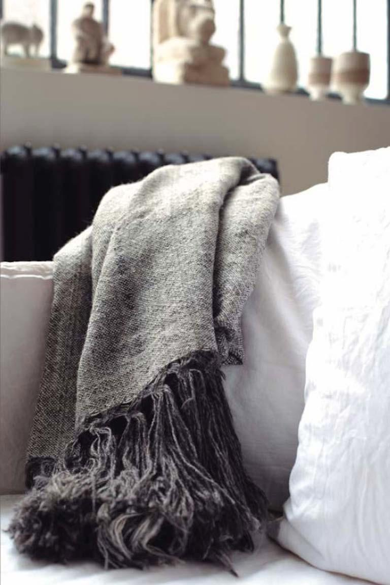 Hand-Woven Handwoven Llama Wool & Silk Double Fringe Throw Pillow from Patagonia, in Stock For Sale