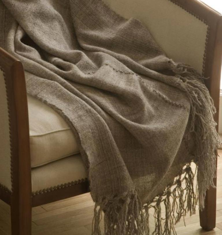 Contemporary Handwoven Llama Wool & Silk Double Fringe Throw Pillow from Patagonia, in Stock For Sale