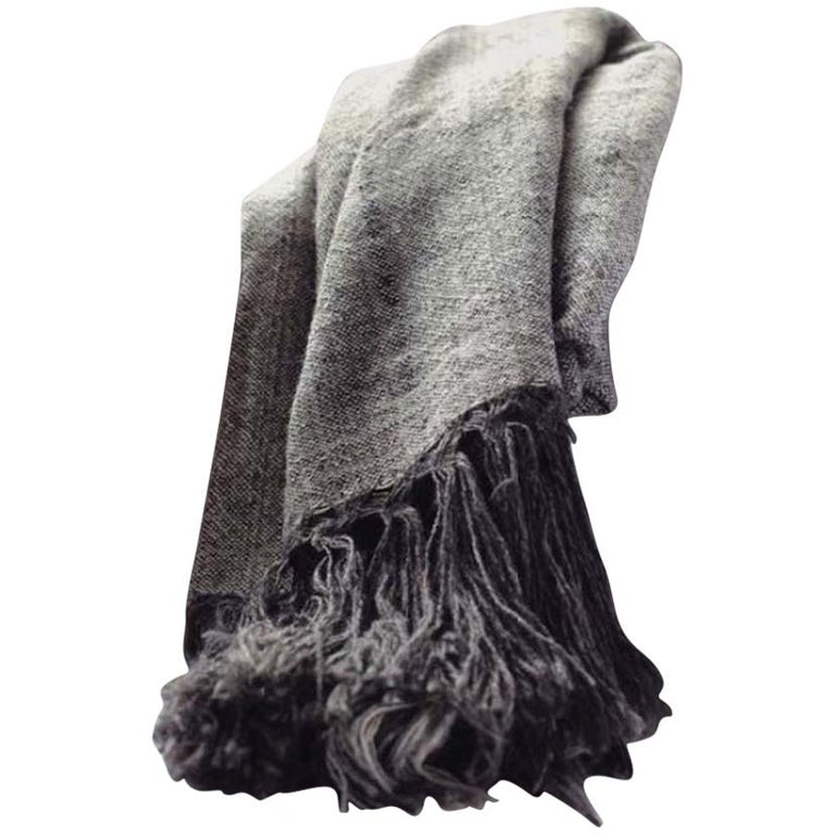 Handwoven Llama Wool & Silk Double Fringe Throw Pillow from Patagonia, in Stock For Sale 1