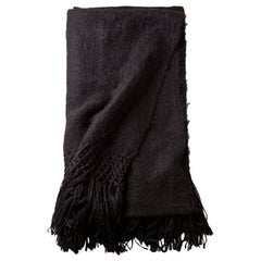 Handwoven Llama Wool Throw in Black Made in Argentina, in Stock