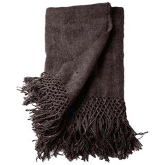 Handwoven Llama Wool Throw in Charcoal Made in Argentina, In Stock