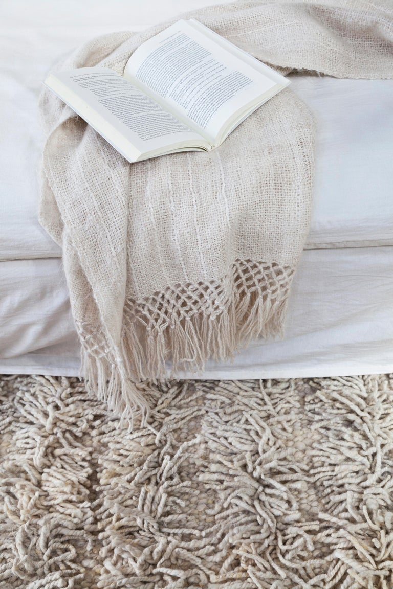 Argentine Handwoven Llama Wool Throw in Ivory Made in Argentina, In Stock For Sale