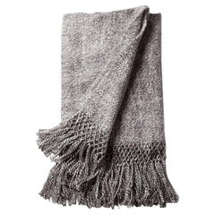 Handwoven Llama Wool Throw in Marled Grey Made in Argentina, in Stock