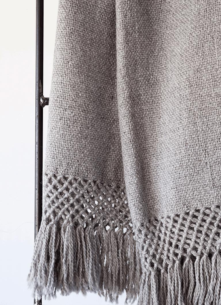 Hand-Woven Handwoven Llama Wool Throw in Silver Made in Argentina, In Stock For Sale