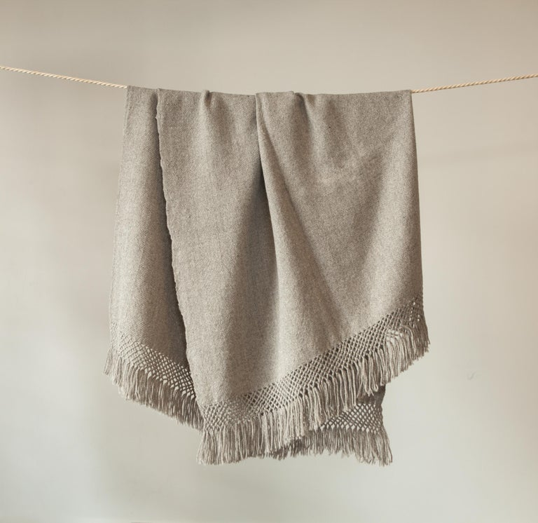Handwoven Llama Wool Throw in Silver Made in Argentina, In Stock In New Condition For Sale In West Hollywood, CA