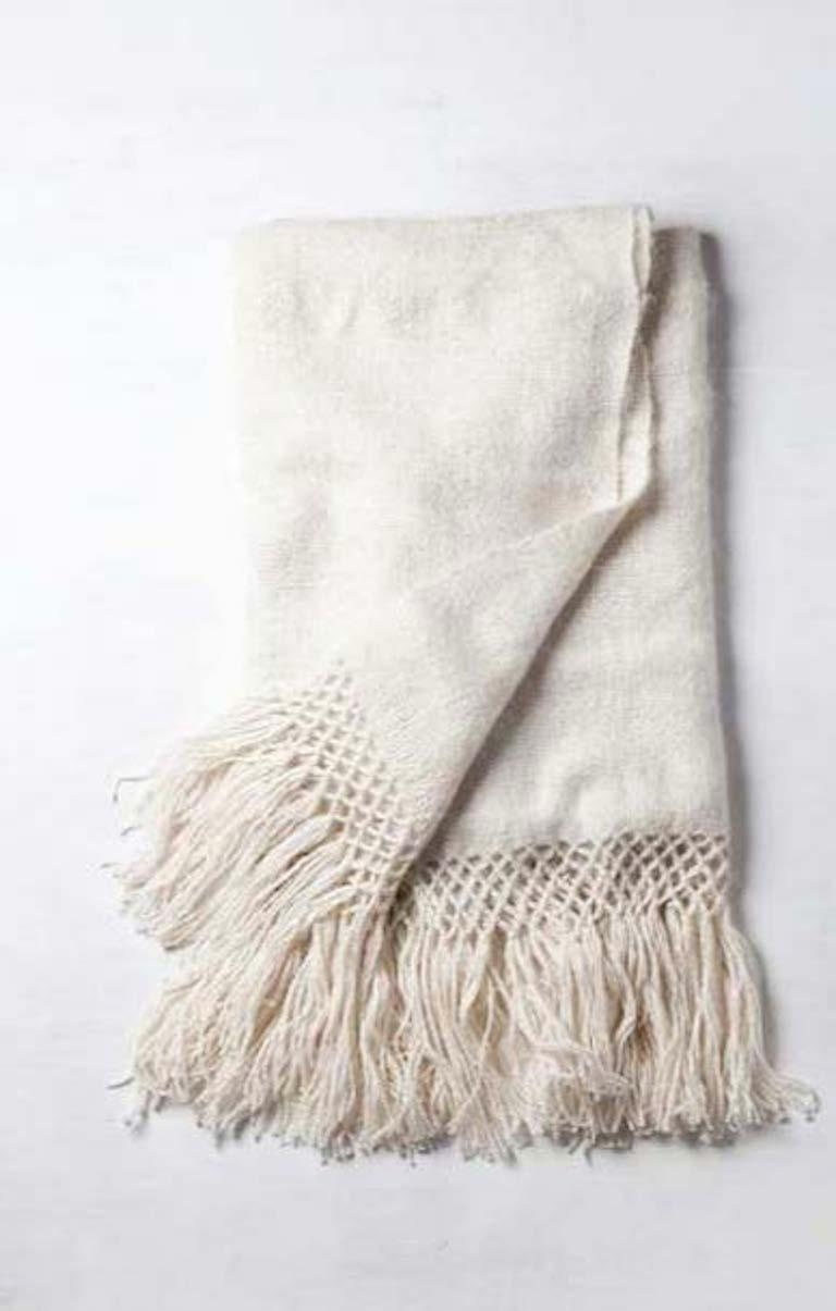 Handwoven Llama Wool Throw in Silver Made in Argentina, In Stock For Sale 2