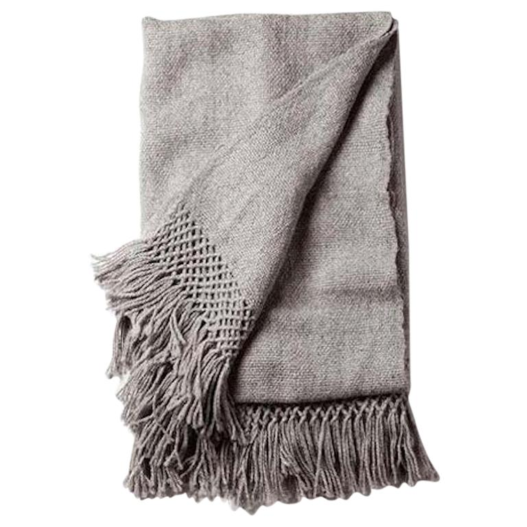 Handwoven Llama Wool Throw in Silver Made in Argentina, In Stock For Sale