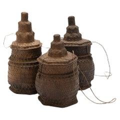 Handwoven Lontar Palm Basket Container Set, Primitive
