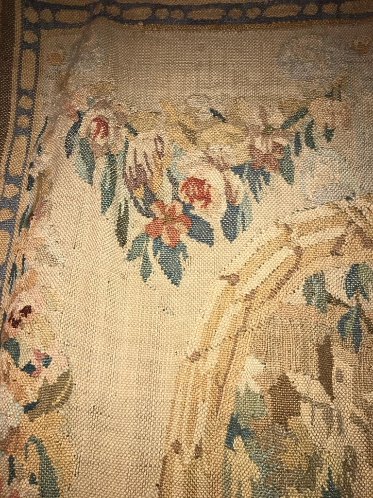 Handwoven Louis XVI Style Floral Tapestry For Sale 3