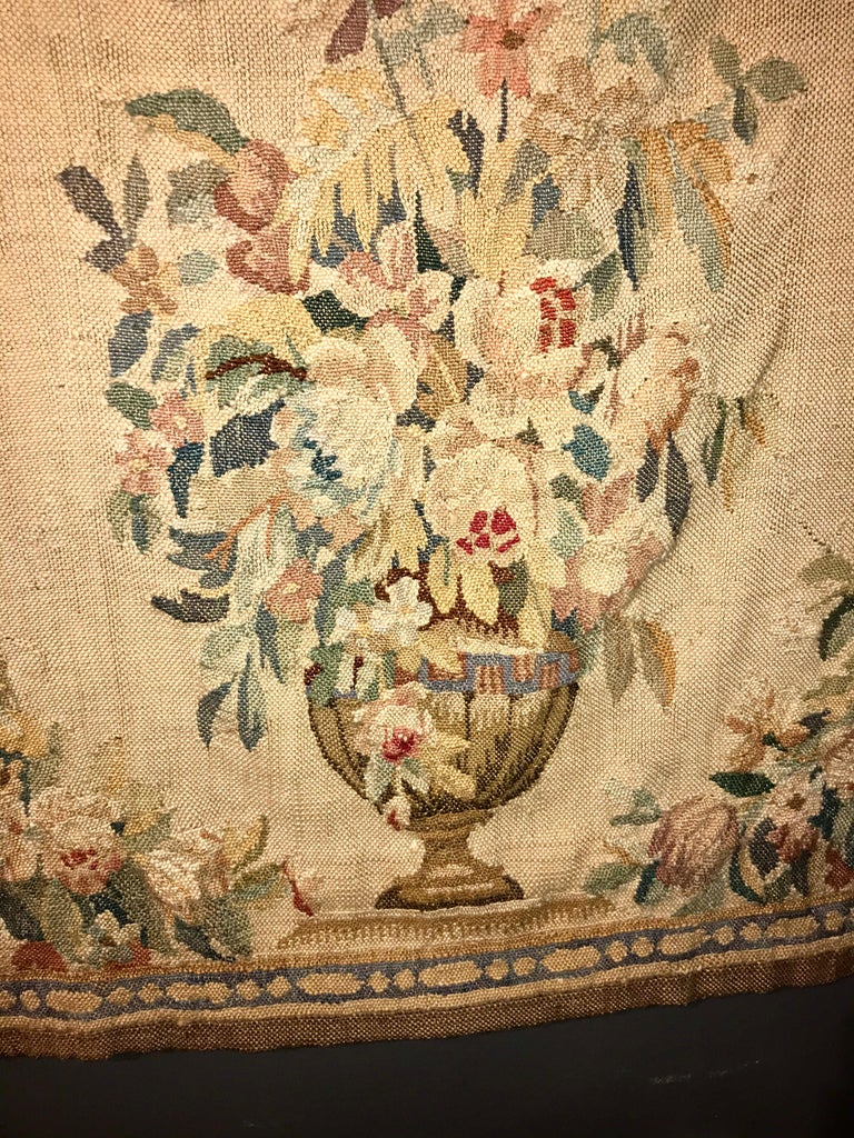 Unknown Handwoven Louis XVI Style Floral Tapestry For Sale
