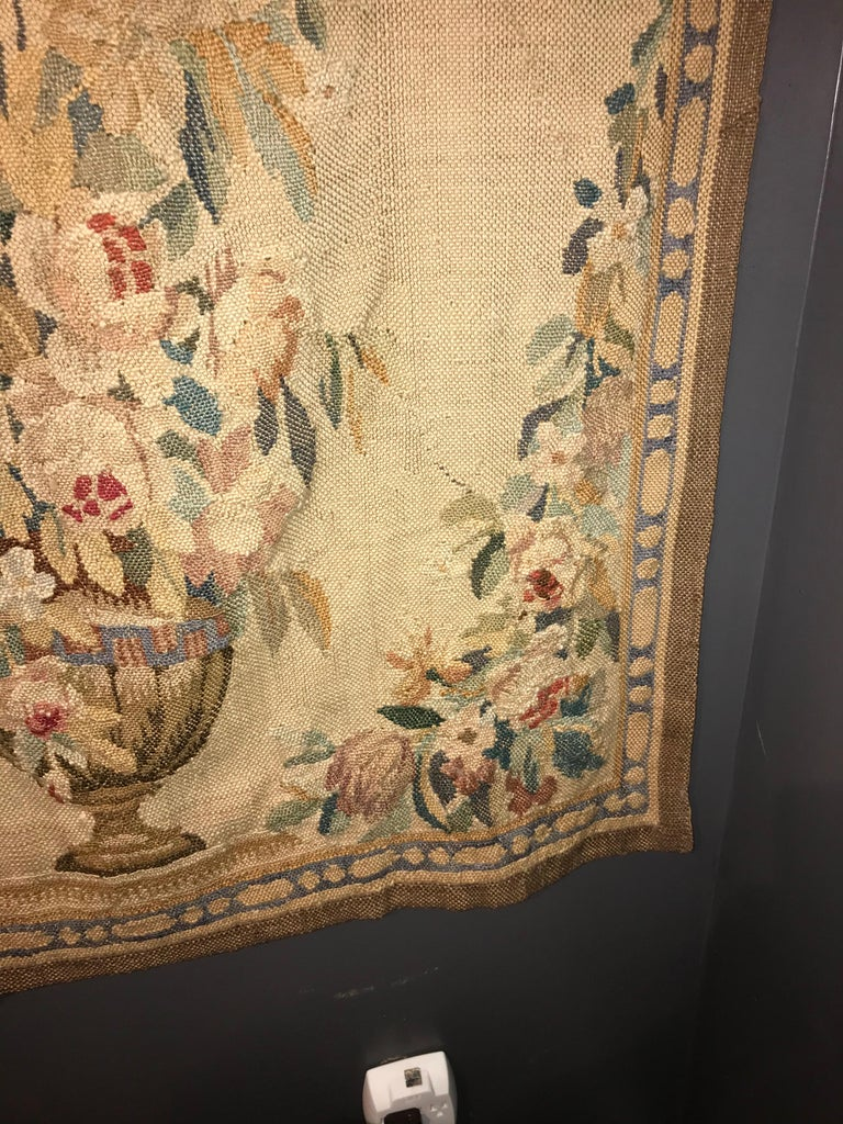Early 20th Century Handwoven Louis XVI Style Floral Tapestry For Sale