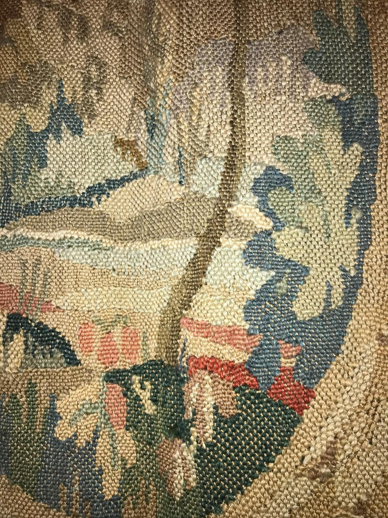 Wool Handwoven Louis XVI Style Floral Tapestry For Sale
