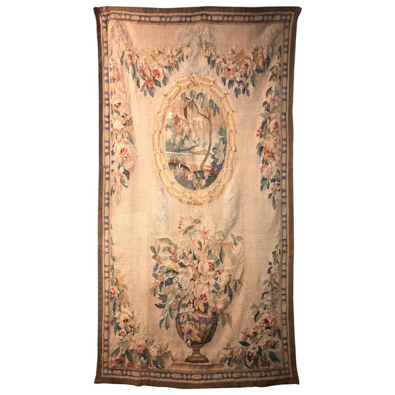 Handwoven Louis XVI Style Floral Tapestry For Sale
