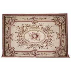Handwoven Luxury Rug, Beige Aubusson Rugs, Floral Needlepoint Carpet