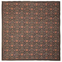 Handwoven Luxury Rug, Chinese Square Aubusson Rugs, Floral Needlepoint Carpet
