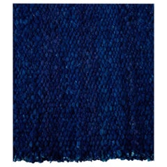 Handwoven Marine Blue Wool Rug, Organic Modern Textured Style, in Stock