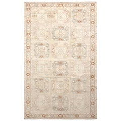 Handwoven Midcentury Vintage Kilim Rug in Beige Geometric All-Over Pattern